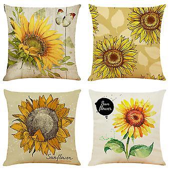 YANGFAN 4 Pcs Sunflower Throw Pillowcases Home Decorative Breathable Linen Pillow Covers