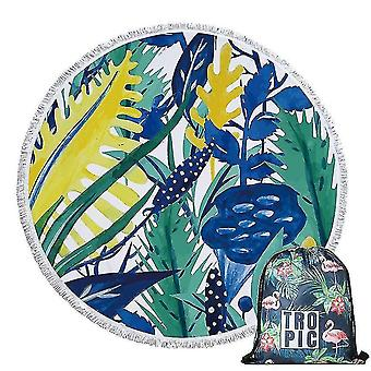 Beach towels 150 cm scandinavian style green leaves summer round beach towel with carry storage bag towel and bag