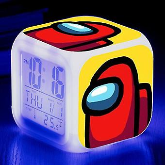 Alarm clocks #3 kids christmas giftgame among us imposter led alarm clock digital 7 colour night light