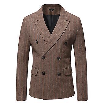Mile Men's Double-breasted Gun Collar Fine Check Back Split Suit