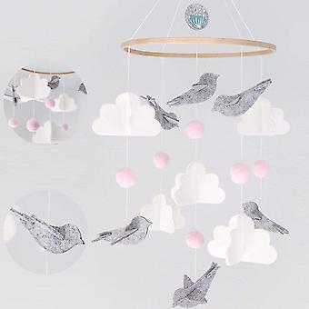 Huishoudelijke Vilt Witte Wolk Vogel WindGong Hanger Kinderkamer Eenvoudige Weef hanger