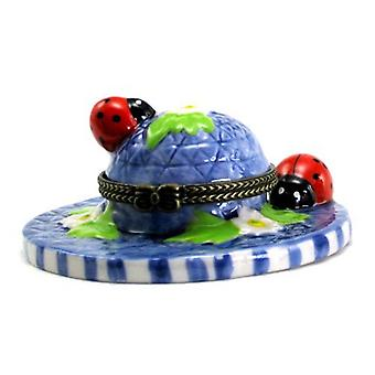 Hat Lady Bugs Beetles Hinged Trinket Box phb