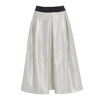 Long Flared Ivory skater Skirt SK200-18