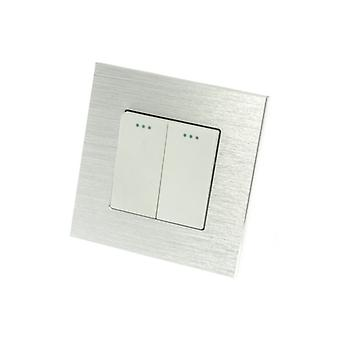 I LumoS Luxury Silver Brushed Aluminium Frame 2 Gang 2 Way Rocker Wall Light Switches