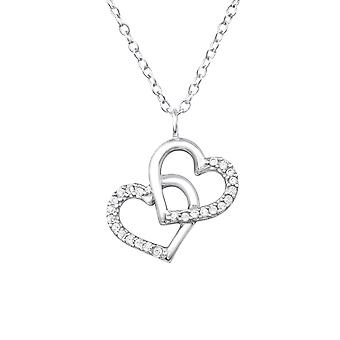 Double Heart - 925 Sterling Silver Jewelled Necklaces - W32085x