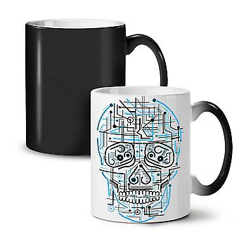 Head Face Panel Skull NEW Black Colour Changing Tea Coffee Ceramic Mug 11 oz | Wellcoda
