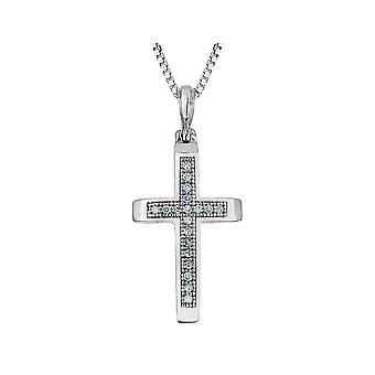 Diamond Cross Pendant Necklace 1/20 Carat (ctw J-K, I1-I2) in Sterling Silver with Chain