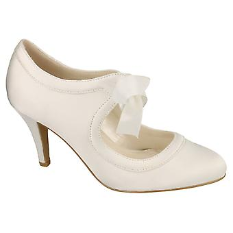 Ladies Womens Ivory Satin Wedding Bridal Slip On Lace Courts Shoes