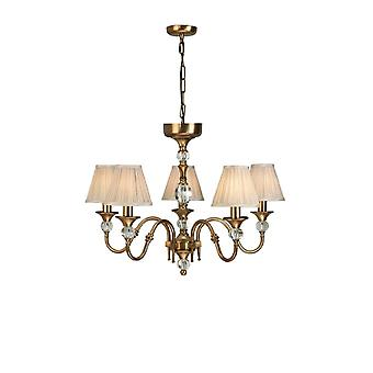 Interiors 1900 Antique Brass Polina 5 Light Classic Chandelier With Beige Shades