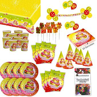 יום הולדת שמח 2 Gebu מסיבה Set XL 72-פיסת עבור 6 אורחים חבילת מסיבות קישוט