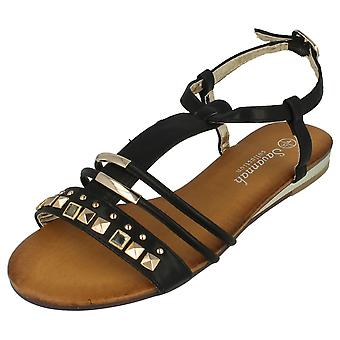 Ladies Savannah Flat Ankle Strap Studded Sandals