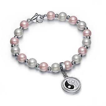 Amulet dodatnie moce symulowane perła różowy biały Yin Yang Magic Circle energii elegancka bransoletka