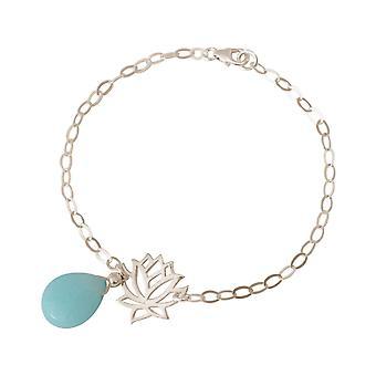 GEMSHINE kvinners armbånd i 925 sølv med YOGA Lotus blomst og turkis