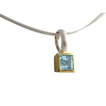 Blautopaz necklace gemstone Blue Topaz necklace in silver and gold plated