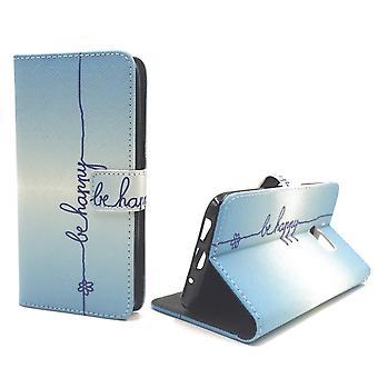 Matkapuhelin tapauksessa pussi mobile HTC 10 kirjoituksella olla onnellinen sininen