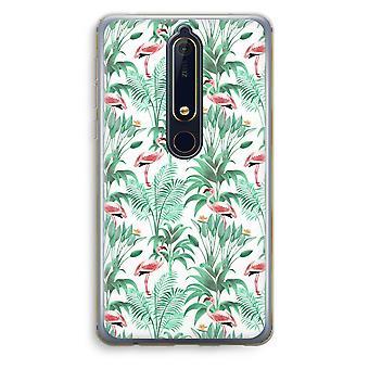 Nokia 6 (2018) boîtier Transparent (doux) - feuilles Flamingo