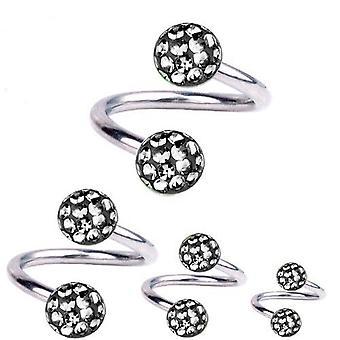 Spiral Twist Piercing Titan 1,2 mm, Multi Crystal Ball svart diamant | 6-12mm
