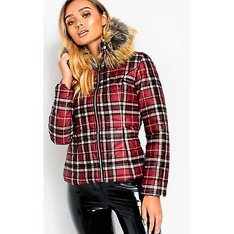 IKRUSH Womens Lullah Padded Checked Jacket