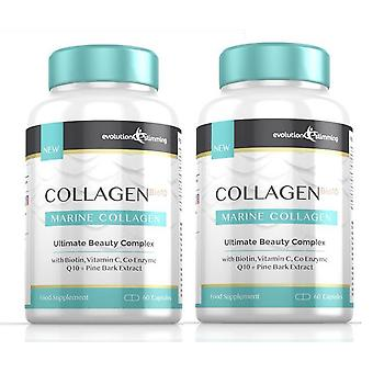 Collagen Bio-10 with Marine Collagen, Biotin and Co-Enzyme Q10 - 120 Capsules - Skin Health and Anti-Ageing - Evolution Slimming