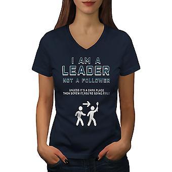 Leader Funy Scared Women NavyV-Neck T-shirt | Wellcoda