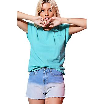 Lovemystyle Loose Fitting Linen Turquoise Top