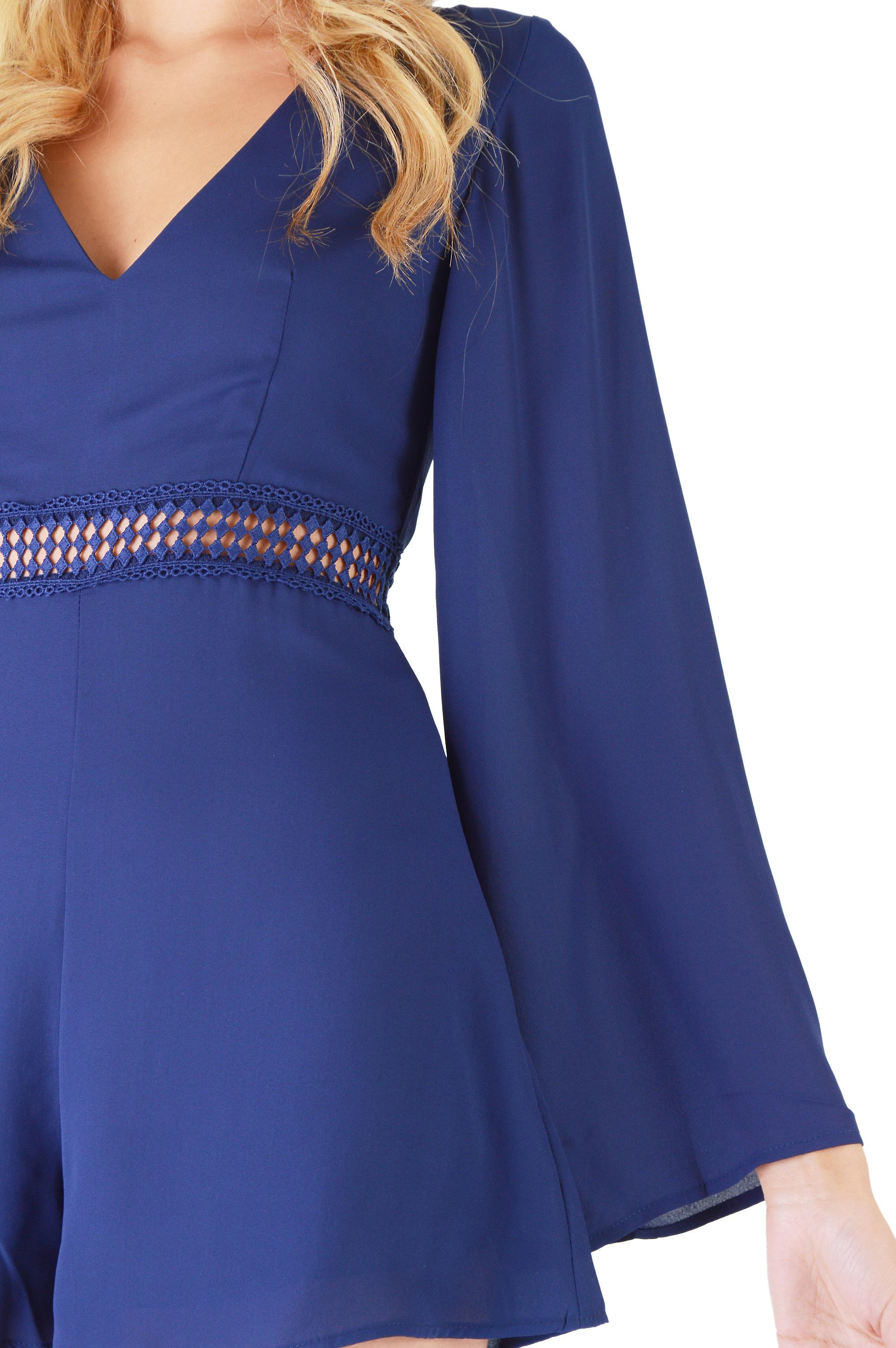 WYLDR Navy Blue V-Neck Playsuit With Waistline Crochet