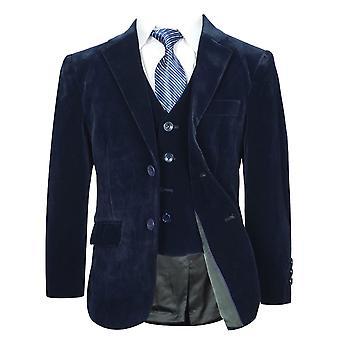男の子ネイビー ブルー ベルベット スーツ