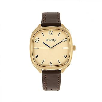 Simplify The 3500 Leather-Band Watch - Gold/Brown