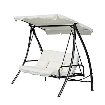 Outsunny 3 Seater Swing Chair 2-in-1 Hammock Bed Patio Garden Cushion Outdoor Canopy Convertible Lounger  Porch Backyard Cream White