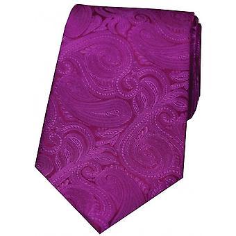 David Van Hagen luxe Paisley cravate en soie - rose Cerise
