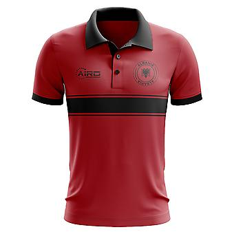 Albanien Concept Stripe Polo Shirt (Red)-Kids