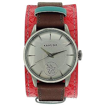 Kahuna Ladies Analogue Silver Dial Brown & Pink Leather Strap Watch KLS-0247L