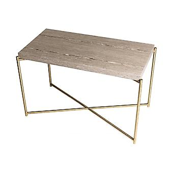 Gillmore Weathered Oak Rectangular Side Table With Brass Cross Base