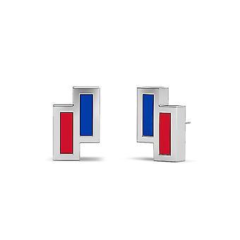 University Of Kansas Sterling Silver Asymmetric Enamel Stud Earrings In Blue and Red