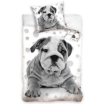 Grey Bulldog Puppy Single Cotton Duvet Cover Set - Tamaño Europeo