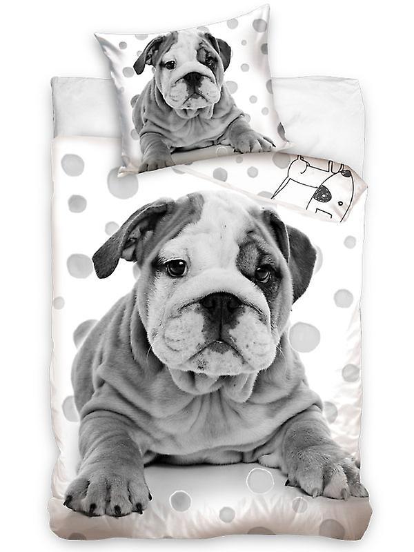 Grey Bulldog Puppy Single Cotton Duvet Cover Set