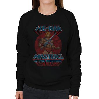 Masters Of The Universe Distressed He Man Power Sword Pose Women's Sweatshirt