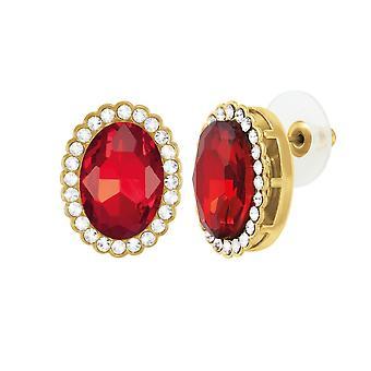 Eeuwige collectie gravin ovaal licht Siam rode Crystal Gold Tone Stud doorstoken oorbellen
