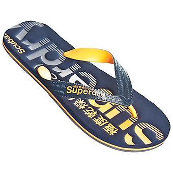 Superdry Scuba Faded Logo Flip Flops Dark Navy/orange