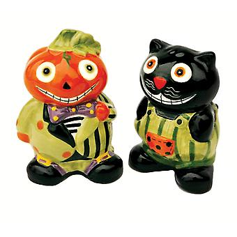 Halloween Pumpkin Jack and Black Cat Ceramic Salt and Pepper Shaker Set