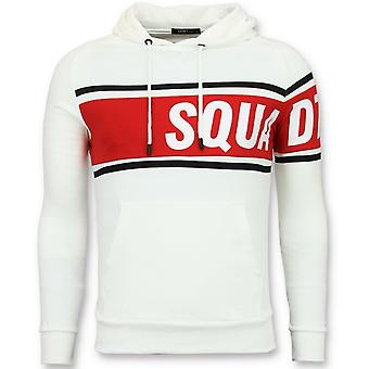 Hooded sweater - White Hoodie - Red