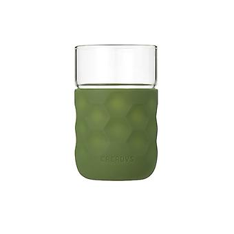 Honeycomb Anti-skid Glass with Silicone Sleeve 250ml in Green
