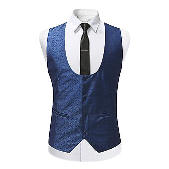 YANGFAN Men's Slim Fit Sleeveless Suit Vest Single Breasted Business Dress Waistcoat