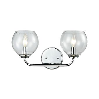 Emory 2-light vanity lamp in polished chrome with clear blown glass elk lighting
