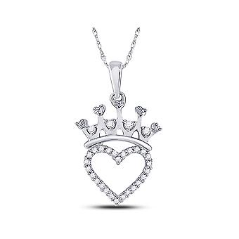 Crown Heart Charm Pendant Necklace 3/5 Carat (ctw) in Sterling Silver with Chain