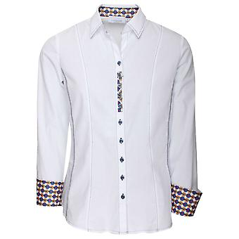 Just White White Fitted Shirt With Cuff Detail