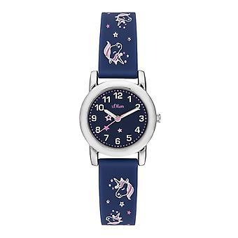 s.Oliver reloj de silicona cinta reloj niños chica SO-3915-PQ