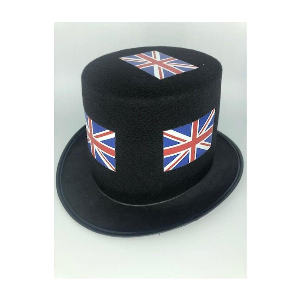 Union Jack Wear 24 Union Jack Black Top Hats - Pack Of 24