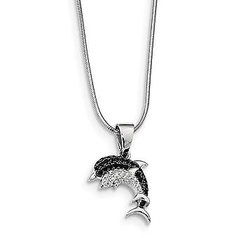 925 Sterling Silver Pave Black Rhodium plated Lobster Claw Closure and CZ Cubic Zirconia Simulated Diamond Brilliant Emb