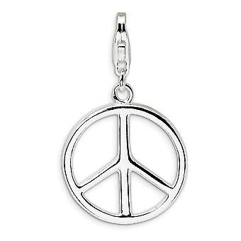 925 Sterling Silver Fancy Lobster Closure Large Polished Peace Sign With Lobster Clasp Charm Pendant Necklace Measures 3